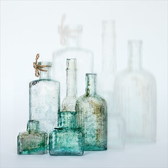 Bottle Shadows (Stan Farrow Photography) Tags: stilllife soft texture blur glow bottle flower jar aquilegia text