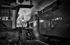 Into the night ! (f22photographie) Tags: steamengines preservedrailways heritagerailways severnvalleyrailway 34053sirkeithpark southernrailway21c153 battleofbritainclasssteamlocomotive steamlocomotive southernrailwaysteamlocomotive bewdleyrailwaystation britishrailways blackandwhite nightphotography pacificsteamlocomotive