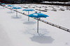 winter beach (marianna_a.) Tags: montreal beach blue umbrellas 2 gulls light shadow white snow winter urban fence diagonal marina mariannaarmata
