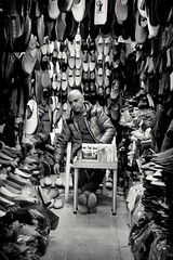 Shoes (GavinZ) Tags: northafrica tunis tunisia medina travel bw bnw blackandwhite shop shoes cobbler souk shopping