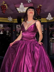 Christmas skirt (Paula Satijn) Tags: girl lady dress gown skirt satin silk shiny purple party christmas ballgown tgirl gurl sensual elegance style class smile happy