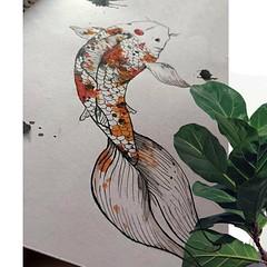 (brendawunsche) Tags: oriental animal nature digital koi dibujo ilustracion pez arte paint plant photography illustration art drawing watercolor koifish macro perspectiva pintura acuarela orange textura details