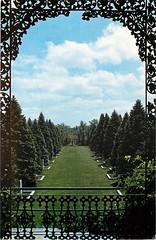 Allerton Park Foo Dog Garden from Gazebo, Monticello, IL c1965 (RLWisegarver) Tags: piatt county history monticello illinois usa il
