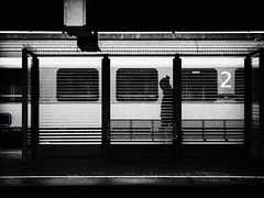 Number 2 (Sandy...J) Tags: olympus fotografie photography light lines linien silhouette street streetphotography sw schwarzweis strasenfotografie monochrom man blackwhite bw black white walking walk urban station train winter shadow darkness noir city germany atmosphere
