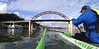 The Final Turn at the Bridge (Kayaker Bill) Tags: oc1 huki paddle oregon willametteriver wasabiwinterseriesracing sauvieislandbridge oc1racing portlandoregon watersports canoe bridge