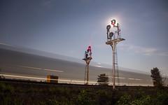Swanton Moon (WillJordanPhoto) Tags: trains nyc buffalo chicago line swanton ohio signal logistics night moon transportation stars