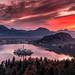 Lake Bled at sunrise , Slovenia .