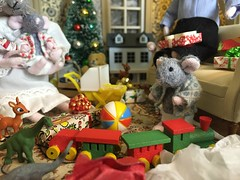 3. Play Time for Basil (Foxy Belle) Tags: mouse miniature doll craft 112 dollhouse house handmade family holiday toys present morning