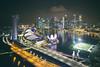 Aerial view of Marina Bay at night, from the Singapore Flyer (Davide Seddio) Tags: singapore singaporecity urbanskyline famousplace marinabaysingapore panoramic city asia architecture skyscraper singaporeflyer night