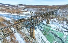 P&WV Banning Bridge (benpsut) Tags: wle wle101 we we101 frozen winter snow youghriver youghioghenyriver wlepittsburghsub pwv banning banningbridge bridge trestle high frozenriver trains railroad