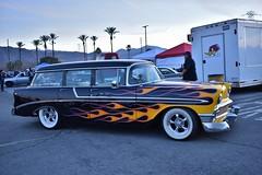 Mooneyes X-Mas Party 2017 (USautos98) Tags: 1956 chevrolet chevy 210 wagon traditionalhotrod streetrod kustom flames