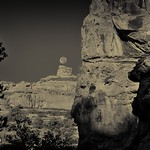 The Moon Was Teed Off Over a Rise in the Distance (Black & White, Capitol Reef National Park) thumbnail