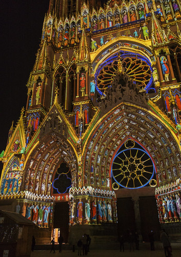 Lighting on the cathedral of Reims