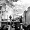 Star of the show (Street matt) Tags: workmen workmates candid streetmatt break dust streetportrait highcontrast builders bw london cloud scaffoldings