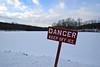 Peligro (MTSOfan) Tags: danger sign warning lake greenlanepark deepcreeklake winter snow ice