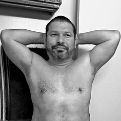 DSCN0422 (danimaniacs) Tags: shirtless man guy selfportrait beard scruff bw blackandwhite