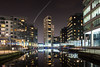 Leeds Canals and Waterways. (Richard Hagues Photography) Tags: central leeds canals apartments night notice plane coming land bradford airport