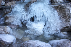 Cold stream (natural illusions) Tags: water stream winter january ice pentax k200d rawtherapee imagemagick rocks slovenia europe lb1415 allrightsreserved outdoor gorge stones aqua chill flow frozen icicle icy nature interesting freezing led zima freeze merrychristmas