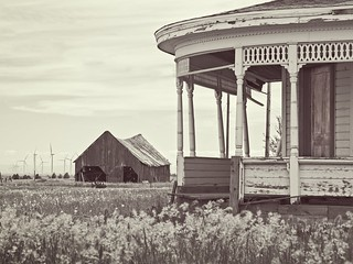 Abandoned Porch Barn and Windmills 1407 C