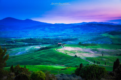 Dreaming Valley (Chiara Salvadori) Tags: tuscany valdorcia bluehour sanquiricodorcia travelphotography italy toscana agriculture beautiful cipress colors country crete farmland field green hill landscape light mist nature outdoors places premium scenery siena sky spring sun sundown sunset tourism travel traveling trip unesco wheat wine