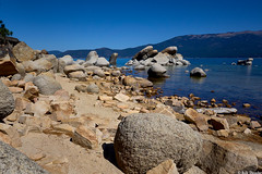 Rocky Beach (PEN-F_Fan) Tags: landscape land m43 mzuiko1240mmf28pro colorgrading captureone laketahoenevadastatepark lake mft raw olympusomdem1 water sandharbor microfourthirds nevada mirrorless camera affinityphoto beach unitedstatesofamerica mountain mountainside rock sky