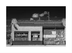 Jim's Jumbo Burger (DJ Wolfman) Tags: blackandwhite bw stores restaurant blacksky poncacity oklahoma olympus olympusomd omd em1markii 12100mmf4zuiko zuiko zd micro43 art