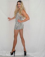 Another from the same set (queen.catch) Tags: drag dragqueen crossdresser heels legs pantyhose platino bodycon silver glitter glam sissy femboy wig makeup feminization genderplay