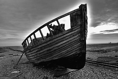 Beached (tcees) Tags: dungenessbeach romneymarsh dungeness kent bw mono monochrome blackandwhite nikon d5200 1855mm sky sand clouds boat railwaylines rails railway sleepers wood shingle allfreepicturesjanuary2018challenge water