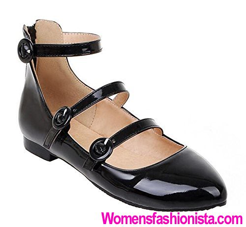 cad2cb36462 SHOWHOW Women s Comfy Solid Pointed Toe Triple Buckle Ankle Strap Zipper  Low Heel Flats Shoes Black