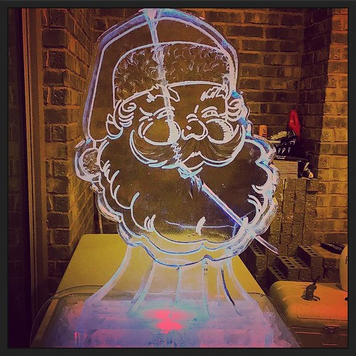 Ho ho holla at this #Santa #iceluge at a #holiday #houseparty in #roundrocktx tonight! #fullspectrumice #thinkoutsidetheblocks #brrriliant - Full Spectrum Ice Sculpture