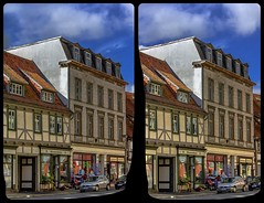 Timber framing in Quedlinburg 3-D / Stereoscopy / CrossEye / HDR / Raw (Stereotron) Tags: sachsenanhalt saxonyanhalt ostfalen harz mountains gebirge ostfalia hardt hart hercynia harzgau quedlinburg streetphotography architecture fachwerk halftimbered house stud work antiquated ancient medieval middleages europe germany quietearth crosseye crosseyed crossview xview cross eye pair freeview sidebyside sbs kreuzblick 3d 3dphoto 3dstereo 3rddimension spatial stereo stereo3d stereophoto stereophotography stereoscopic stereoscopy stereotron threedimensional stereoview stereophotomaker stereophotograph 3dpicture 3dglasses 3dimage hyperstereo twin canon eos 550d yongnuo radio transmitter remote control synchron kitlens 1855mm tonemapping hdr hdri raw