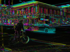 Relativity perspective 2: Cyclist, inching forward (Thiophene_Guy) Tags: thiopheneguy originalworks xz1 olympusxz1 composite muybridgeperspective movingsubjectreferenceframe colour colors colours rainbow color surreal thsfeset harrisshutter effect rainbowcolors kinetic dynamic dynamism action motion movement aleatoric subtractivefilter subtractivefilterhse subtractivedifferenceharrisshuttereffect negativespace