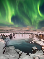 Sky Fire (blame_the_monkey) Tags: aurora gfx50s iceland arctic bluehour europe frozen godafoss ice landscape longexposure mountain night north northernlights snow travel water waterfall winter