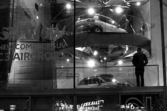 By dreaming in front of cars (pascalcolin1) Tags: paris paris8 homme man nuit night rêve dream voitures cars vitrine window reflets reflection photoderue streetview urbanarte noiretblanc blackandwhite photopascalcolin canon50mm 50mm canon