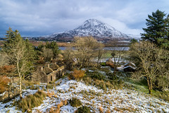 """""""The Abandoned Village of Glentornan & Mt Errigal"""" (Gareth Wray - 10 Million Views, Thank You) Tags: bunbeg gweedore dji poisoned glen mt mount mountain errigal dunlewey church foot phantom four 4 pro p4p drone aerial quadcopter landscape landmark tourist attraction tourism tourists historic history visit donegal ireland irish scenic gareth wray photography strabane nikon atlantic day vacation 2017 derrybeg gaeltacht lake lough hill home house thatched cottage ruin abandoned homestead ghost glentornan village hamlet dry stone decay rural traditional lost snow snowing winter christmas"""