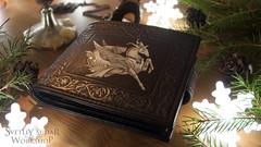 Leather wallet Capricorn (SvetliySudarWorkshop) Tags: brown brushes craft floral handmade leather medieval ornament pockets purse silver wallet wipworkinprogress svetliysudar