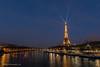 Eiffel Tower Spotlight Blue Hour (elliott845) Tags: blue eiffeltower bluehour paris europe france dusk multipleexposures thebluehour evening night lowlightphotography seine seineriver