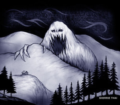 Abominable Snowman Mountain Sketch Drawing (shaire productions) Tags: abominable snowman mountain winter trees christmas xmas man snow snowcappedmountains ink pen drawing drawn illustration sketch monster creature evergreen pine dark evil character
