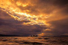 sunset 4974 (junjiaoyama) Tags: japan sunset sky light cloud weather landscape orange contrast color bright lake island water nature winter rays beams