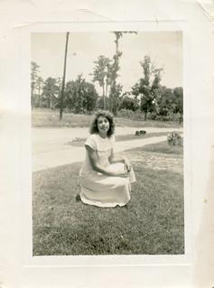 Woman posing on Lawn, 1940s
