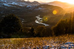 I wish you great holidays and a happy new year (lucafabbricesena) Tags: sunset verucchio emiliaromagna panorama appennino hill snowy landscape field nature plants twilight winter d800 nikon mountailn tree rays