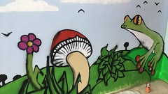 Frog/Shroom/Flower (helixgraffiti) Tags: exeter toadstool shroom flower bush bird tree hills stencil freehand clouds helix graff graffiti street art mural 2017