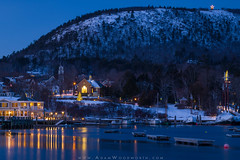 Camden After Christmas (Adam Woodworth) Tags: bluehour camden camdenhills christmas churchsteeple holidaylights maine midcoast mountain mtbattie newengland seacoast snow town waterfront winter