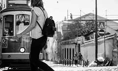 """no risk no fun"" (ThorstenKoch) Tags: street streetphotography stadt strasse schatten shadow schwarzweiss summer sun sonne lissabon lisboa lisbon pov photography people photographer portugal alfama city candit fuji fujifilm xt10 thorstenkoch blackwhite bnw saturday close risk fun danger"