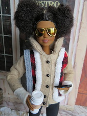 3. BRT (Foxy Belle) Tags: barbie doll fashionistas 2017 rebody made move coat winter cell coffee diorama plaid buffalo red tan leggings boots 80 petite sunglasses