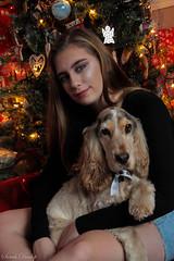 Best Pals (sarahdunlop1) Tags: daughter dog tree christmas lights cuddles girl portrait