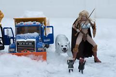 Arhian and Ghost vs. the Little People (edwicks_toybox) Tags: 16scale tbleague arhian blonde bruder direwolf executivereplicas femaleactionfigure ghost phicen sword threezero truck warrior