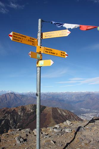 Wegweiser auf dem Gipfel
