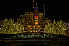 A Broadmoor Christmas (Ramblin San) Tags: christmaslights broadmoor hotel coloradosprings colorado december 2017 wreath christmastrees lights night holiday winter building fancy elegant landscape luxury celebrate christmas