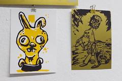prints (happypill.de) Tags: siebdruck screenprint bunny siebdruckhueter illustration easter schielen waffe metal gold a5